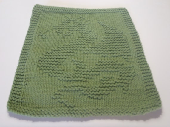 Green Dishcloth Cotton Knit Dishcloth Green Dragon by AMailys