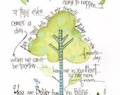 Winnie the Pooh nursery art - New baby boy art print - Winnie the Pooh quote - Baby nursery art - Tree painting - Baby wall art