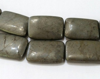 Pyrite, Beads, 17x24mm, Large, Rectangle, Set of 8, Golden, Bronze, Fool's Gold, Natural, Jewelry, Beading, Supply, Supplies