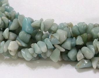 "Amazonite, Natural, Chip, Strand, Full 36"" Strand, Medium to Large Chip, Beads, Jewelry, Beading, Supply, Supplies"
