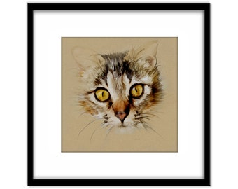 Cat Painting Instant Download, Printable Poster, Card Making, Cat Lovers Art Gift