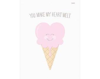 You Make My Heart Melt - Ice Cream Print