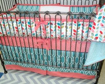Coral & Aqua Baby Bedding: Ariana