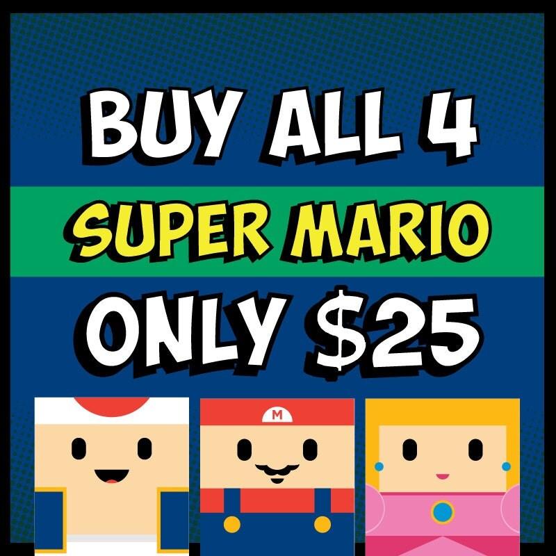 Nintendo Super Mario Bros Posters Set Of 4: Mario Luigi