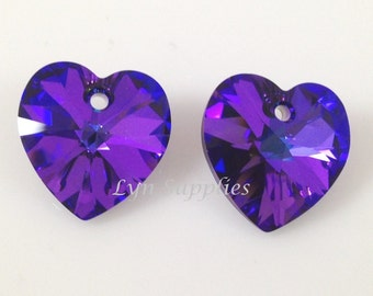 6228 HELIOTROPE 14.4x14mm Swarovski Crystal Heart 2pcs or 8pcs