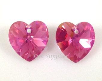 6228 ROSE AB 10mm Swarovski Crystal Heart, 6 pieces  Love Valentine's Wedding