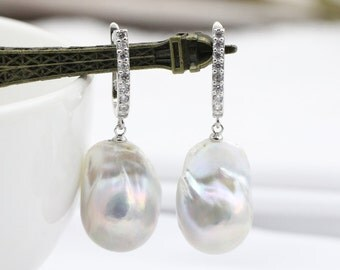 Baroque pearl earrings,big jumbo flameball pearl earrings,white large pearl earrings,huge fireball pearl earings,mom earrings,mother gifts