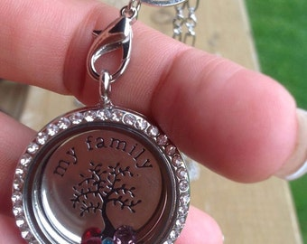 """Necklace """" Magnetic Locket """" with floating charm silver my family tree stamped with birthstone of your family"""