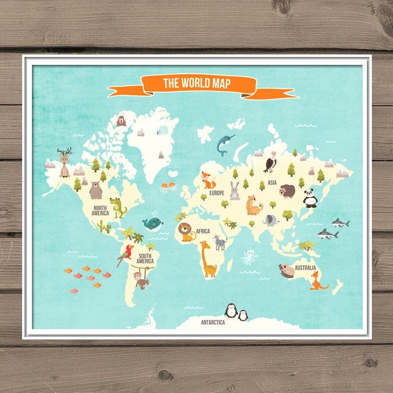 Animal world map – Map World Poster Kids