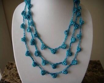 Three/Four Tier Blue Sparkle Bobble Necklace