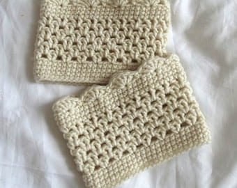 Crochet Boot Cuffs Legwarmers Cream Neutral Lacy or Plain Wear Inside or Outside your Boots Tattoo Covers