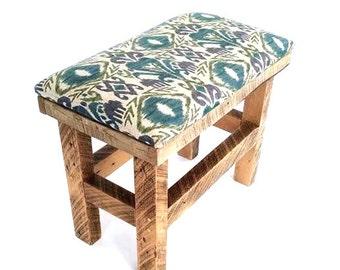 Handmade Reclaimed Wood Upholstered Bench, Kids seating, Entryway bench, reclaimed wood bench, barn wood bench