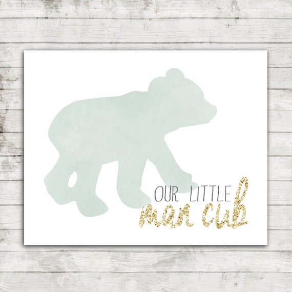 Our Little Man Cub- Digital Printable Wall Art fort 8x10 Landscape Water Color Bear with Gold Text #153