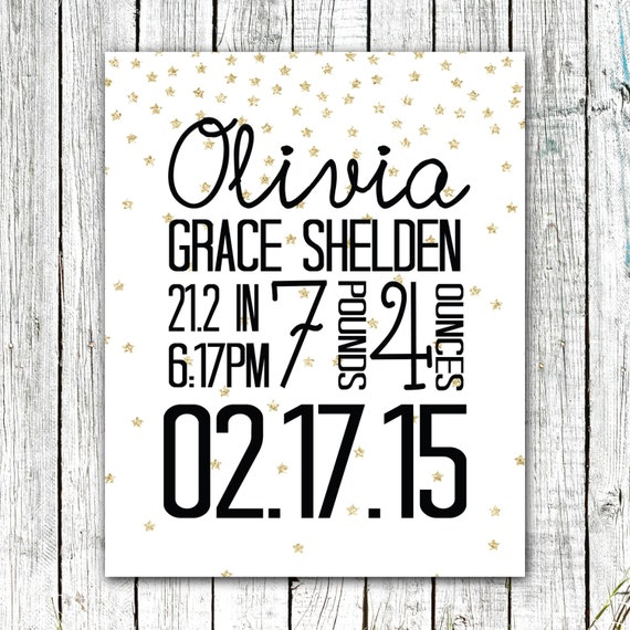 Custom Birth Announcement Wall Art Print, Gold Stars, Printable File, 8x10 or 11x14 #02