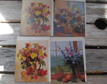Vintage Current Floral Flower Note Cards  set of 4