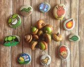 Story Stones hand painted by Claudia Nanni Fine Art - Camping themed Storytelling Game - cute gift for Kids - travel game - sea rocks