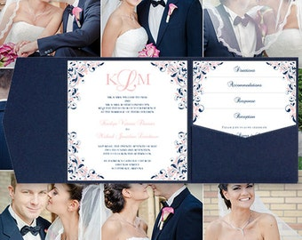 """Pocket Fold Wedding Invitations """"Kaitlyn"""" Blush Pink & Navy Blue Printable Templates Instant Download Order Any 1 or 2 Colors DIY You Print"""