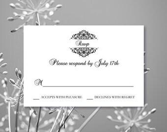 RSVP Card PrintableTemplate Grace Black White Full Line In Shop Editable Word