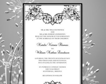 """Printable Wedding Invitation """"Vienna"""" Black & White Template  Editable Microsoft Word Instant Download ALL Colors Available DIY You Print"""