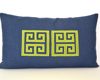 Navy Lumbar Pillow - Navy Linen Pillow with Lime Green Greek Key Appliqué