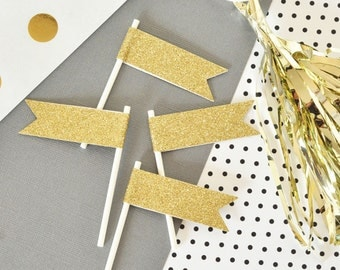 Glitter Cupcake Toppers - Mini Cupcake Flag Toppers  - Gold Glitter Cupcake Flags  (EB3081) set of 24 flags