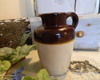 Vintage Brown Glazed Earthenware Pottery Pitcher