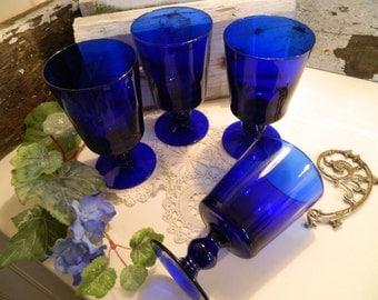Set of 4 Vintage Cobalt Blue Pedestal Water Glasses