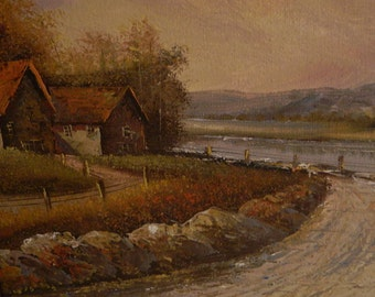 Vintage Oil Painting English Farm Lane - Whittington Galleries Ltd.