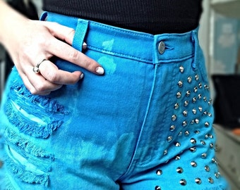 Customised 'Lagoon' Shorts Hand dyed, studded and shredded - one of a kind
