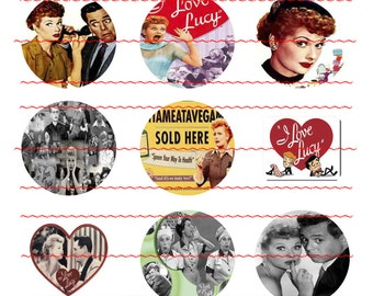 I Love Lucy #2 PreCut 1 Inch x 1 Inch Circles I Love Lucy Bottle Cap Images For Magnets Hair Bow Centers Jewelry Scrapbooking Party Favors