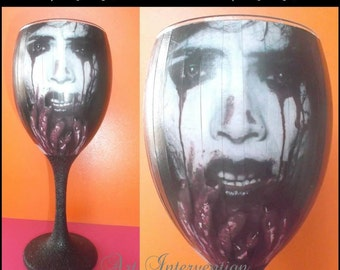Horror, bloody, gothic/goth wine glass, decoupaged, 'Food Safe', black glitter stem