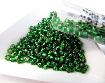 Miyuki Size 8, Seed Beads, 22 Gram Tube, S/L Green, Round, Japanese Beads, Wire Wrapping, Bead Stringing, Bead Embroidery, #8-916-TB