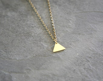 Golden Pyramid Brass Necklace – brass triangle pendant, modern minimal jewelry, boho necklace, geometric, simplistic, layering necklace