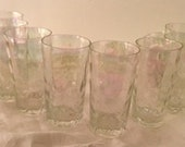 Irridescent Carnival Glass Tumblers, Shabby Chic Water Glasses set of 8, Bridal Gift