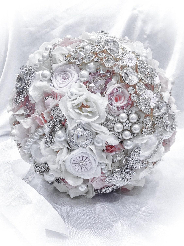 Elegant White Bridal Bouquet : Elegant pure white very pale pink bridal bouquet reserved