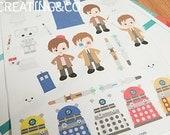 CA01 26 Time Traveling Doctor Stickers for Scrapbooking, Erin Condren Planner, Kikki K Planner, Limelife Planner