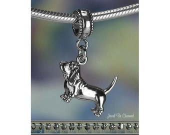 Sterling Silver Basset Hound Charm or European Style Charm Bracelet