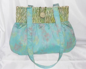 Fabric handbag, handmade handbag, green handbag, handmade fabric tote, medium size handbag, inside zip pocket
