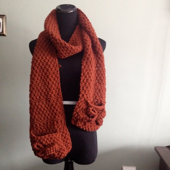 Items similar to Scarf with pockets and bows hand knit choose your color on Etsy