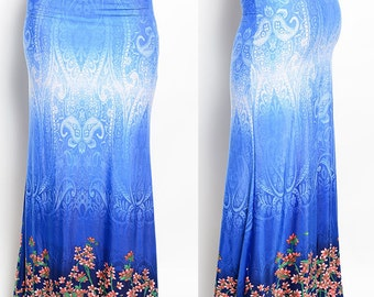 Blue Floral print side Women maxi skirt long stretch S M