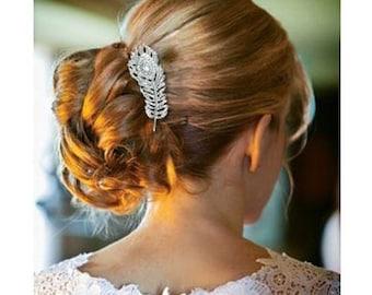 Jewel hair comb vintage feather bridal wedding rhinestone   Bijou de cheveux peigne plume mariage mariée