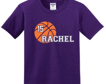 Personalized Basketball T-shirt, youth boy girl shirt with name