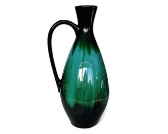 Mid Century Pitcher, Blue Mountain Pottery Vase, Jug, Retro Black, Green