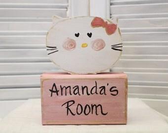Girls Kitty Hand Painted Small Block