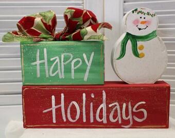 Snowman Happy Holidays Christmas Hand Painted Block Set