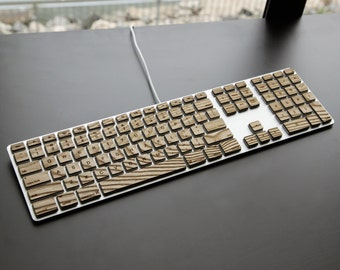 Engrain Tactile Keys - Naturally textured wooden stickers for Apple Keyboards - Standard size (with numeric keypad)