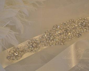 Crystal Bridal Sash-Rhinestone Wedding Belt-Bridal Sash-Wedding Dress Belt