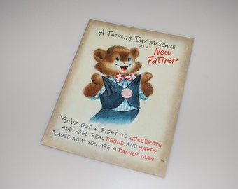 Vintage Father's Day Card for New Father Teddy Bear Hallmark