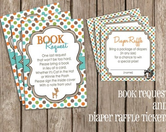 Diaper Raffle Tickets and Book Request Insert - Forest Critter Woodland