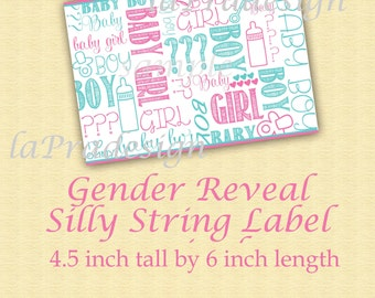 Gender Reveal Silly String / 2 sizes available to immediate download-Label for silly string can Gender Reveal / Gender Party Printable